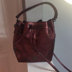 Coach: Beautiful Burgundy Metallic Bag!